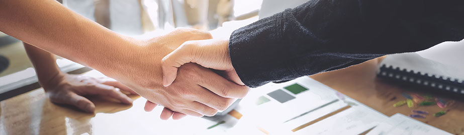 Professionals shaking hands over desk in office as colleagues stand by