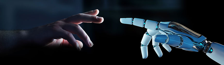 Robot hand reaching for human hand with dark background