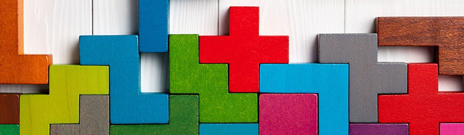 Colorful puzzle pieces fitting together