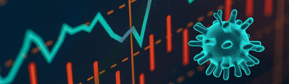 Coronavirus and stock market concept illustration
