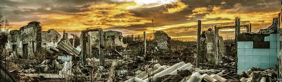Destruction and change landscape