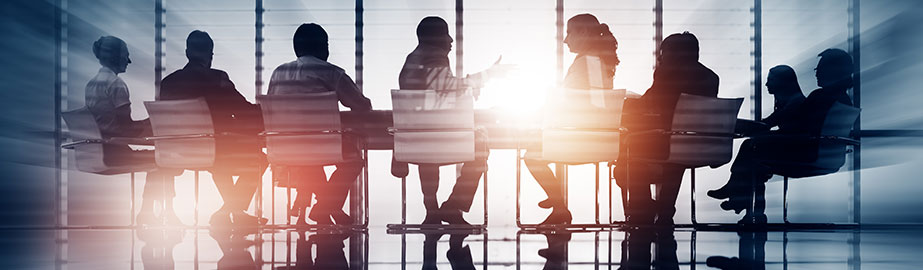 Group of professionals meeting in conference room with bright backlight and sunlight