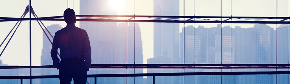 Business professional looks out at city skyline through large glass windows