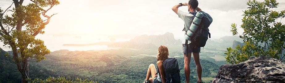 Hikers look over valley