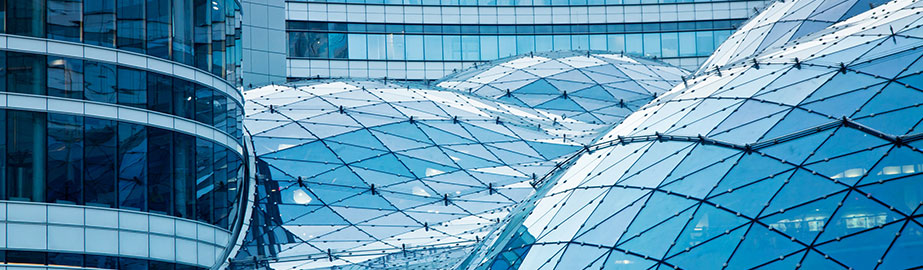 Modern architecture with geometric shapes in blue daylight