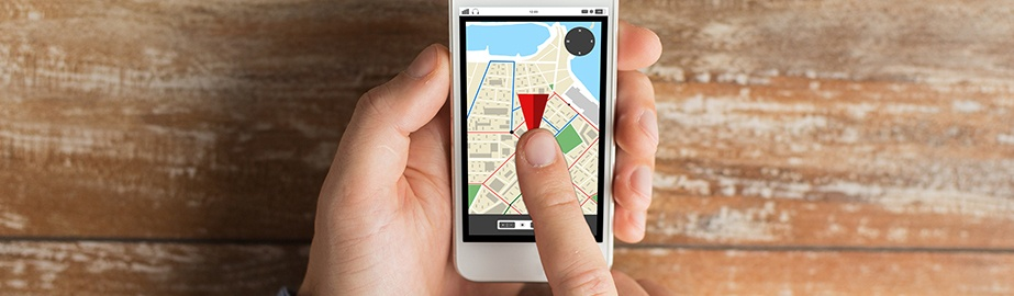 Image of person interacting with GPS on smart phone