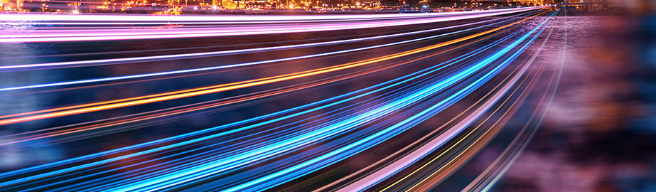 Long exposure photo of colorful lights passing quickly